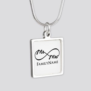 Custom Infinity Mr. and Mr Silver Square Necklace