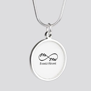 Custom Infinity Mr. and Mrs. Silver Round Necklace