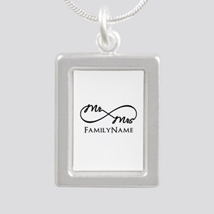 Custom Infinity Mr. and Silver Portrait Necklace