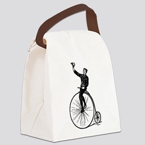 Vintage Gent On Bicycle Canvas Lunch Bag