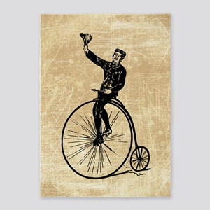 Vintage Gent On Bicycle 5'x7'Area Rug