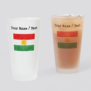 Custom Distressed Kurdistan Flag Drinking Glass