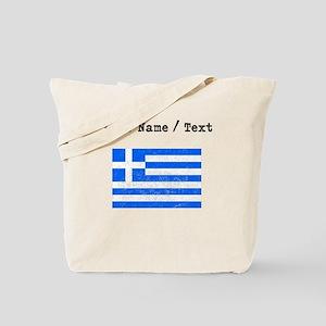 Custom Distressed Greece Flag Tote Bag