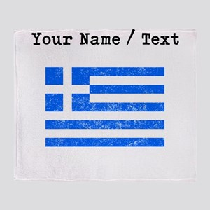 Custom Distressed Greece Flag Throw Blanket