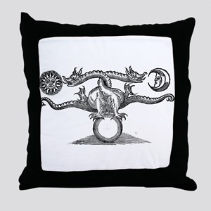 Entwined Hermetic Dragons Throw Pillow