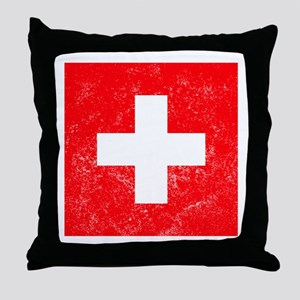 Distressed Switzerland Flag Throw Pillow