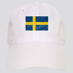 Distressed Sweden Flag Baseball Cap