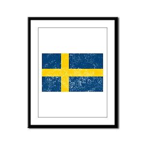 Distressed Sweden Flag Framed Panel Print