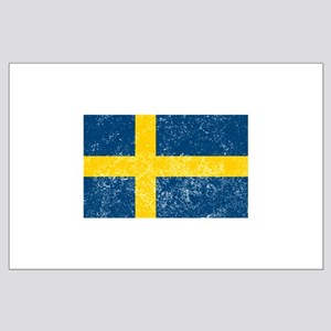 Distressed Sweden Flag Posters