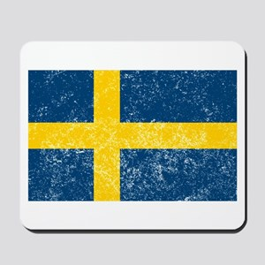 Distressed Sweden Flag Mousepad