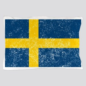 Distressed Sweden Flag Pillow Case