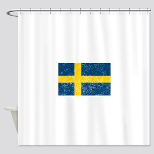 Distressed Sweden Flag Shower Curtain