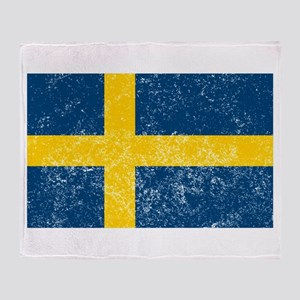 Distressed Sweden Flag Throw Blanket