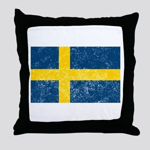 Distressed Sweden Flag Throw Pillow