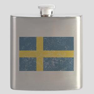 Distressed Sweden Flag Flask