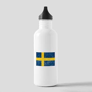 Distressed Sweden Flag Water Bottle