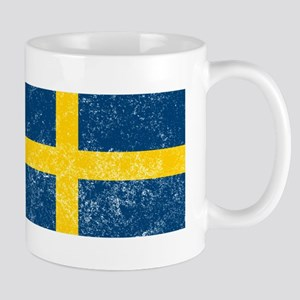Distressed Sweden Flag Mugs