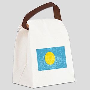 Distressed Palau Flag Canvas Lunch Bag