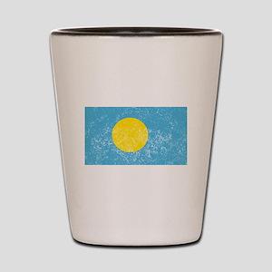 Distressed Palau Flag Shot Glass