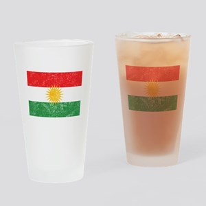Distressed Kurdistan Flag Drinking Glass