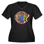 USS MYLES C. Women's Plus Size V-Neck Dark T-Shirt
