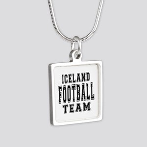 Iceland Football Team Silver Square Necklace