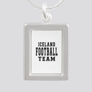 Iceland Football Team Silver Portrait Necklace