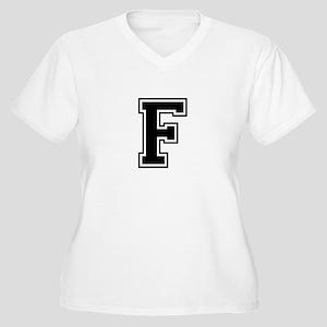 Varsity Letter F Women's Plus Size V-Neck T-Shirt