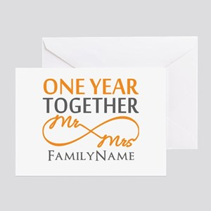 1st anniversary greeting cards cafepress gift for 1st wedding anniversary greeting card m4hsunfo