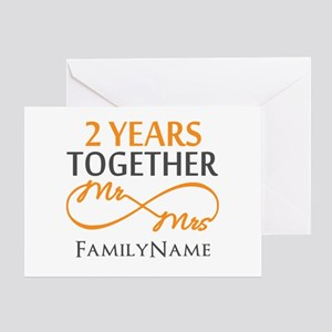2nd anniversary greeting cards cafepress gift for 2nd wedding anniversary greeting card m4hsunfo
