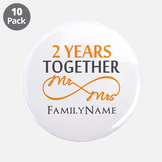 "Gift For 2nd Wedding Anniver 3.5"" Button (10 pack)"