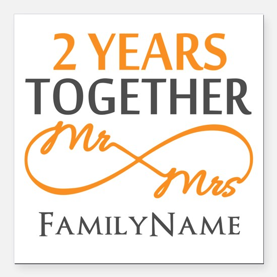 "Gift For 2nd Wedding Ann Square Car Magnet 3"" x 3"""