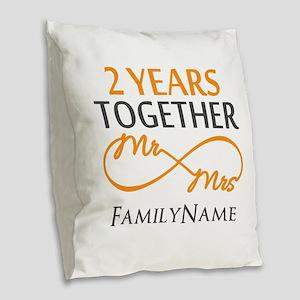 Gift For 2nd Wedding Anniversa Burlap Throw Pillow