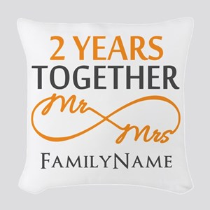 Gift For 2nd Wedding Anniversa Woven Throw Pillow
