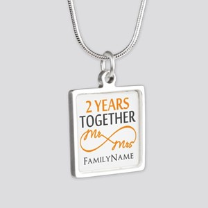 Gift For 2nd Wedding Anniv Silver Square Necklace