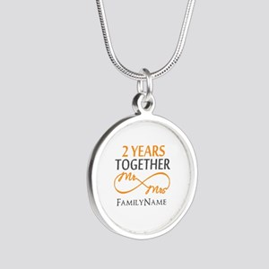 Gift For 2nd Wedding Anniver Silver Round Necklace