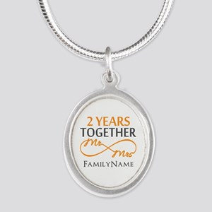 Gift For 2nd Wedding Annivers Silver Oval Necklace