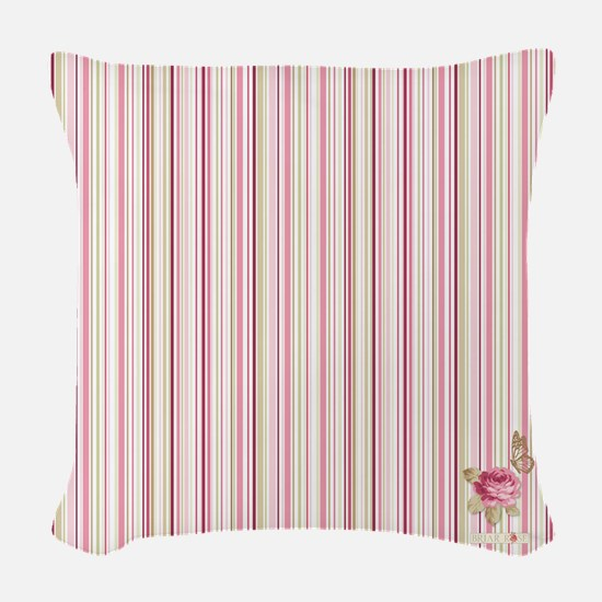 Madame Butterfly Stripes Woven Throw Pillow