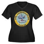USS CONSTELL Women's Plus Size V-Neck Dark T-Shirt