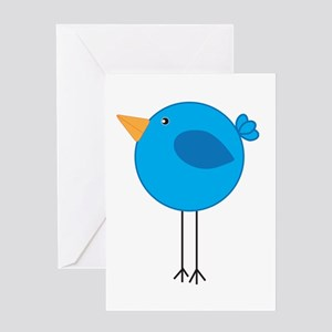 Blue Bird Cartoon Greeting Cards