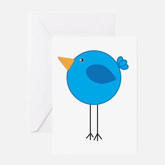 Blue Bird Cartoon Greeting Cards