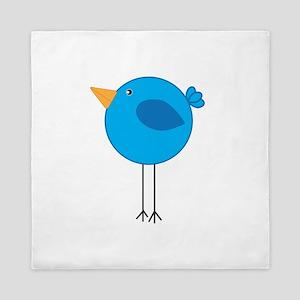 Blue Bird Cartoon Queen Duvet