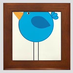 Blue Bird Cartoon Framed Tile