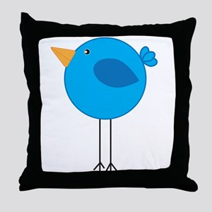 Blue Bird Cartoon Throw Pillow