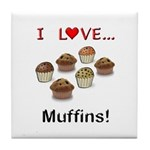 I Love Muffins Tile Coaster