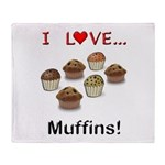 I Love Muffins Throw Blanket