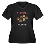 I Love Muffi Women's Plus Size V-Neck Dark T-Shirt