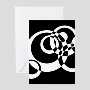 Black And White Circles Greeting Cards