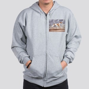 Whippet on the Beach Zip Hoodie