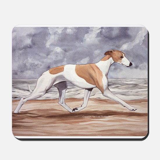 Whippet on the Beach Mousepad